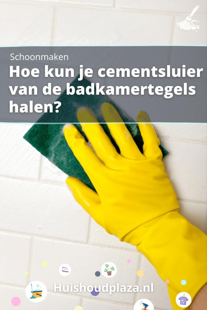 cement wegpoetsen van tegels in de badkamer